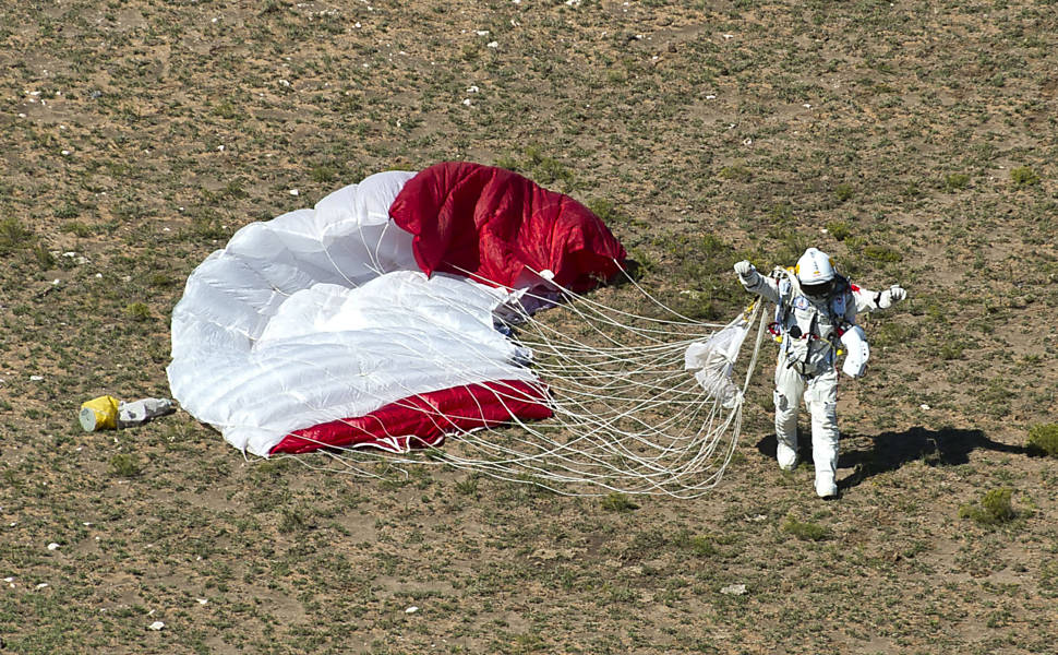 landed parachute on ground angle from above